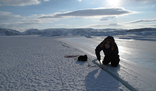 Recording ice movement in Canadian Arctic
